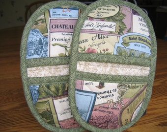 Quilted Wine Label Oven Mitts - Set of 2