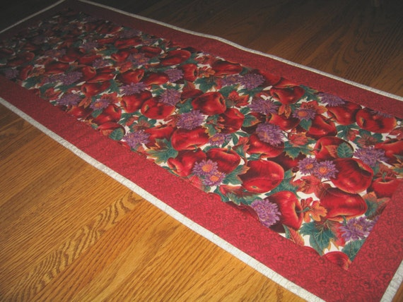 Quilted Table Runner with Red Apples - Last One