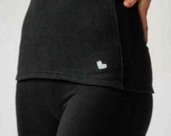 New for Women! Black antimicrobial FLEECE belly band - belly warmer - kidney warmer for winter