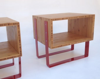 Pair of Mid Century Modern Open Bedside Side Tables -Splash of Red in caramelized bamboo
