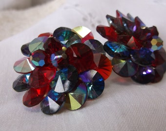 Vintage Vendome Jewel Tone Aurora Borealis Rivoli Clip on Earrings