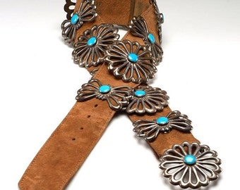 Vintage 1950's Sand Cast Navajo Silver and Leather Belt
