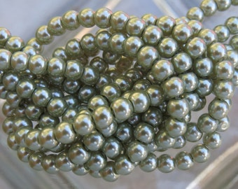 4mm Light Olive Glass Pearl Beads 16 Inch Strand (BS524)