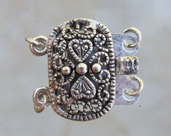 20x16mm Antique Silver Plate on Solid Brass Metal 2 Strand Box Clasp (FS23)