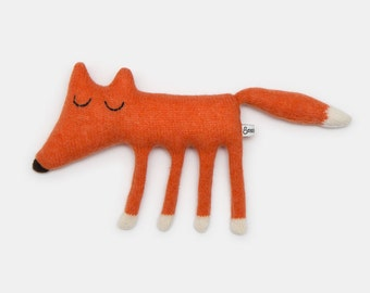 Monty Fox Knitted Lambswool Soft Toy Plush - Made to order