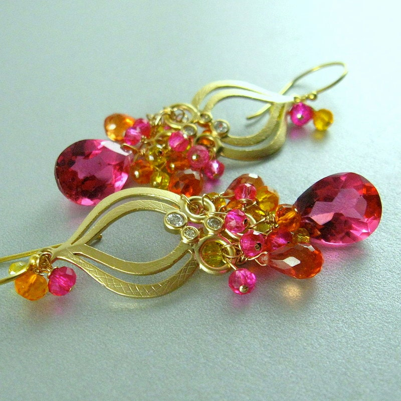 pink gemstone quartz pink topaz and gold filled