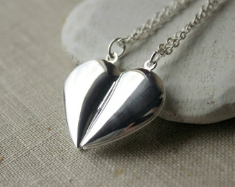 TWO Silver Half Heart Locket Set friendship necklaces - pair of hearts best friend lockets gift sister mother girlfriend daughter N223