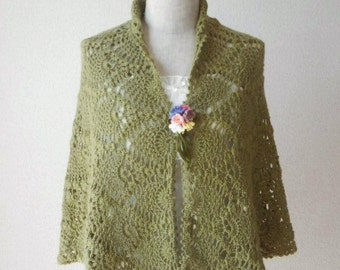 Baby Alpaca Pineapple Shawl Scarf Stole - Olive Green -