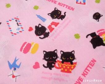Kawaii Japanese Fabric - Love Kittens Pink- Half Yard - (ta131113)