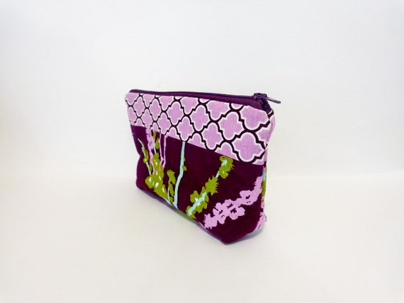 Medium Zipper Pouch - Orchid Purple Lattice and Olive Branches