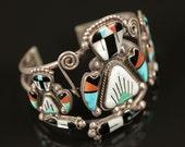 Sterling Silver Zuni Inlay Cuff Bracelet
