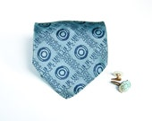 Blue Tonal Necktie - Vintage Abstract Pattern Tie