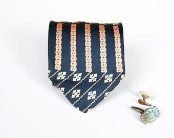 Silk Tie - Navy & Peach Vintage Necktie
