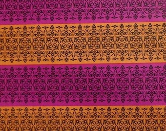 Vintage All Occasion Gift Wrap Orange and Purple 1970s Wrapping Paper-2 Sheets