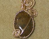 Natural Brown BRONZITE Gemstone Gold Wire Wrap Necklace Pendant SALE