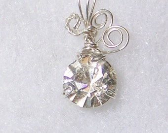 Vintage Clear RHINESTONE Sterling Silver Plate Wire Wrap Necklace Pendant SALE