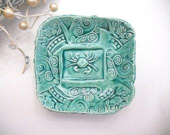 Ceramic Bowl Crab - turqoise - Handmade Pottery - Tropical