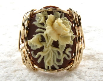 Cream Rose Flower Bouquet Cameo Ring 14K Rolled Gold Artisan Jewelry