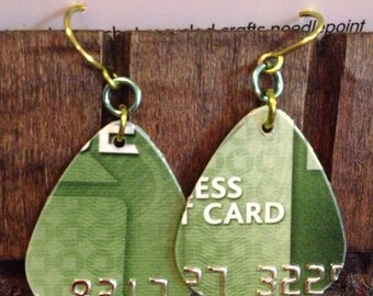 Recycled credit card earrings green Chase