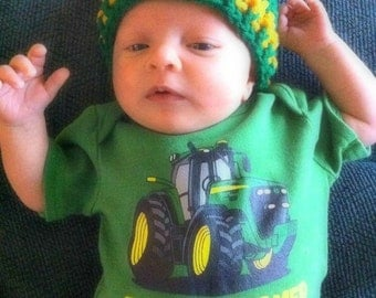 Crochet Baby Hat/Crochet Newborn Hat/ Crochet Toddler Hat/BIG GREEN TRACTOR Baby Hat (Ready to Ship)