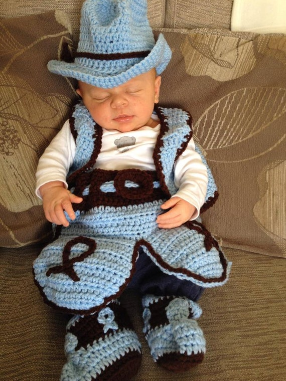 Crochet cowboy outfit baby newbornhatboots and chaps