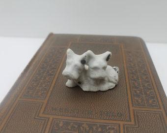 Ceramic Scottie figurine 2 dogs Rustic