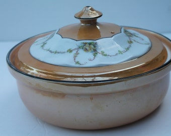 Royal Rochester FraunFelter China Peach Lusterware Casserole with Lid