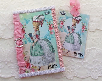 Sale Marie Antoinette, Notebook Pocketbook,Journal,Birthday,Bridal Shower,High Tea,French Vintage Shabby, Moleskine Cahier Altered Australia