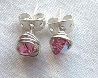 Birthstone Stud Post Earrings - Swarovski Crystal Kids earrings  - Girls earrings  - Children's Jewelry