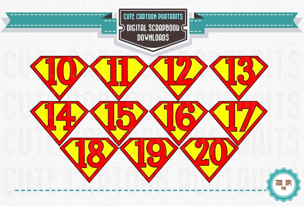 Instant Download Superhero Numbers 10 20 on Numbers 1 10 Printable Cards