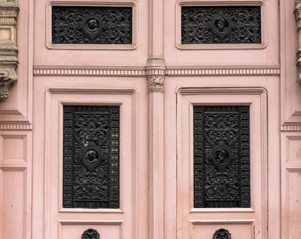 Paris Photography, Pink Door Photo, Pink Wall Art Paris, Pink Room Decor, Pink Door in Paris, Autumn