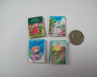 Four Handmade Miniature Fairy Tale Books with colorful pages inside