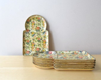 appetizer snack trays set made in japan paper mache floral pattern