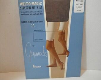 Vintage 1960s Sheer Thigh High Garter Stockings Gaymode Penneys Welt O Magic Size 9.5 Grey Nos Unused