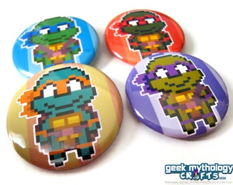 Ninja Turtles TMNT 1.5 inch Pin-back Buttons or Magnets