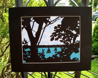 Sailing Paper Cut Silhouette Wall Art Paper Cut Art trees ocean lake black blue sky 14x11 matted unframed