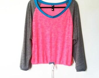 Burn Out Pink Loose Raglan Sports Tunic