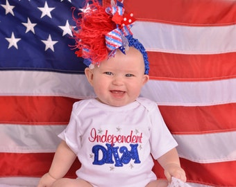 Red White Blue and Grey 4th of July Patriotic Over The Top Funky Bow with Headband of Choice Free Shipping on all Additional Items