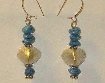 Turquoise and Silver Earrings - 1143