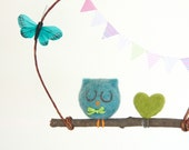 Blue Baby Mobile, Turquoise Owl, Needle Felted Wool, Rustic Home Decor, Woodland