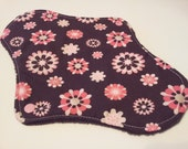 One 10 Inch Minky Topped Pink Flowers on Brown Winged Cloth Menstrual Pad - PUL
