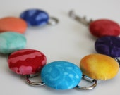 Bright Batik Button Bracelet