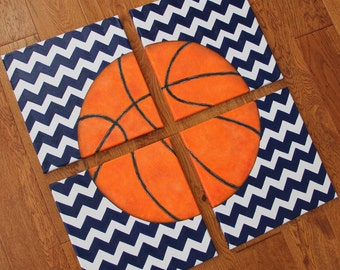 4 paintings 8 x 10 or 12 x 12 Chevron Basketball Blue Canvas Art Boys Bedding Room Decor-You pick sport!