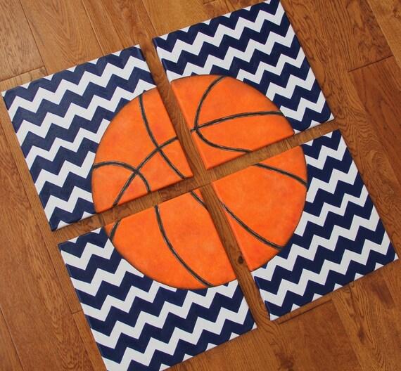 Basketball Sports Canvas Wall Art For Boys Bedroom Decor: 4 Paintings 8 X 10 Or 12 X 12 Chevron Basketball Blue Canvas