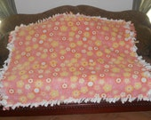 Yellow White and Orange Flowers on Light Coral Ivory Back Fleece Tie Blanket No Sew Fleece Blanket 48x60 Approximate size