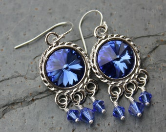 Sapphire Blue Crystal Rivoli & Silver Chandelier Earrings - with Swarovski elements- simply stunning boho chic - free shipping USA