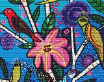 Modern cross stitch kit by Heather Galler 'Blue toile birds'