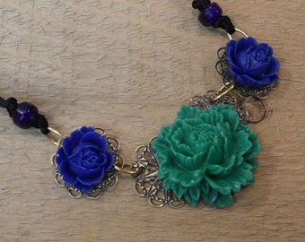 Rose necklace Rose resin necklace Seattle Seahawks colors blue and green