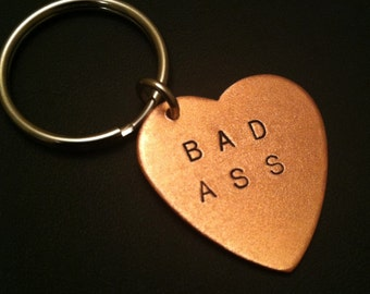 Badass, Stamped Heart Keychain, Like a Boss, Custom Keychain, Bad Ass, Copper Heart Key Ring, Womens Keychain, Mens Keychain, Metal Taboo