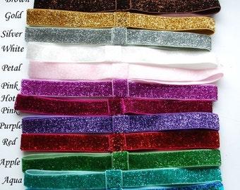 YOU CHOOSE - Glitter Elastic Interchangeable Headbands - Pick 5